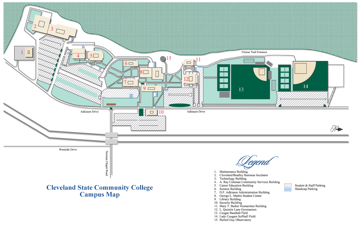 Cleveland State Map Campus Maps   Cleveland State Community College   Acalog ACMS™ Cleveland State Map