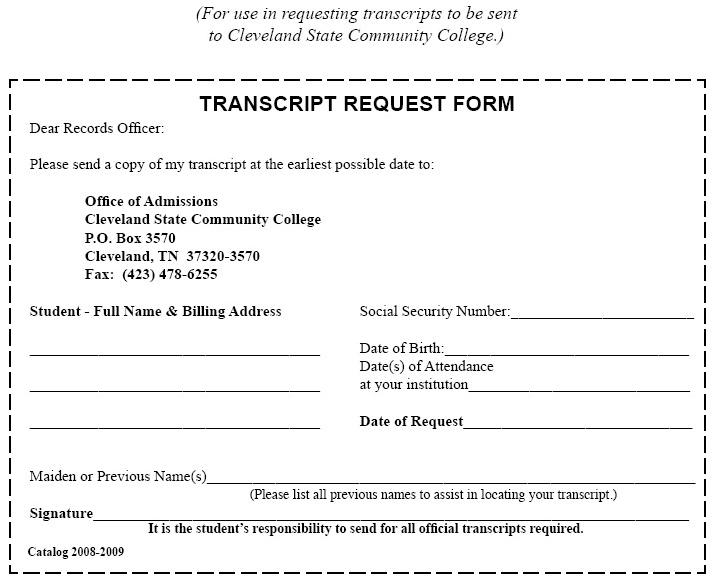 Transcript Request Form Cleveland State Community College – Student Request Form